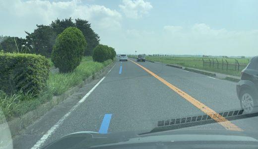 湖岸道路の青い線は何?2019年からビワイチ(琵琶湖一周)用の青ライン出現